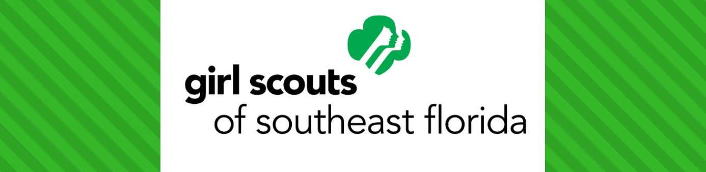 Girl scouts logo in black with green stripped background
