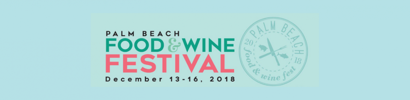 light blue background with The Palm Beach Food & Wine Festival logo