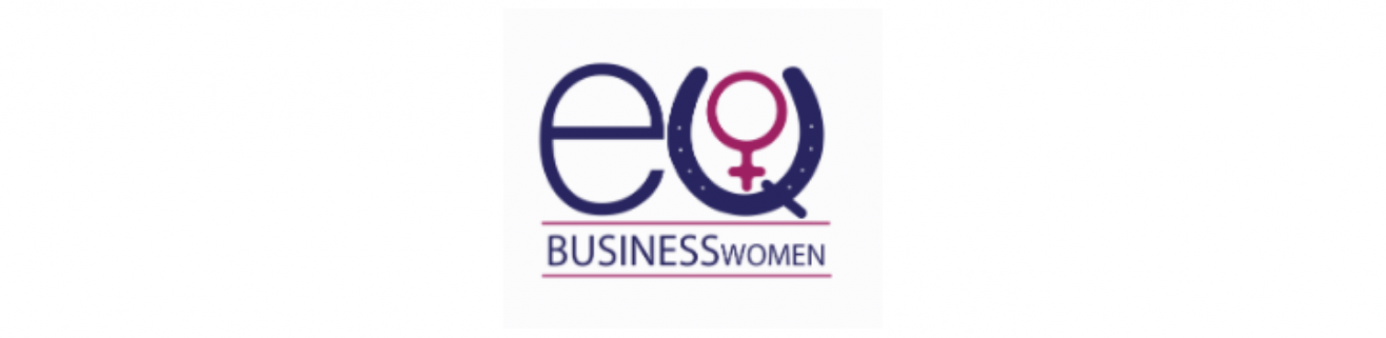 Purple lowercase E with purple horseshoe and pink female sign over top businesswomen written in purple lettering.