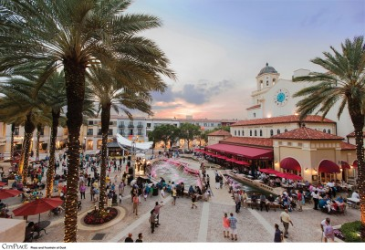 Photo of the courtyard of cityplace outside facing the clock tower with sunset
