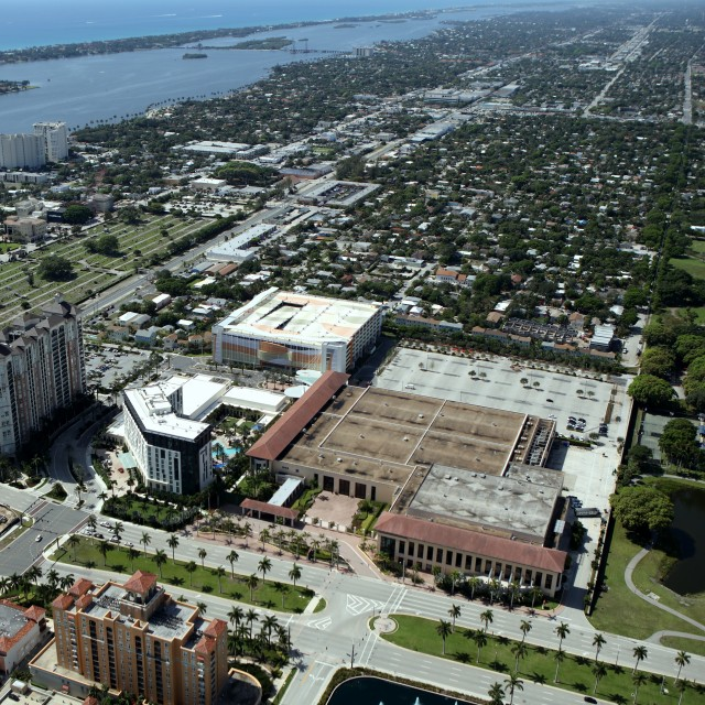 Aerial Photo view of the entire convention center facility including the Hilton hotel, parking garage, parking lot, and Okeechobee boulevard.
