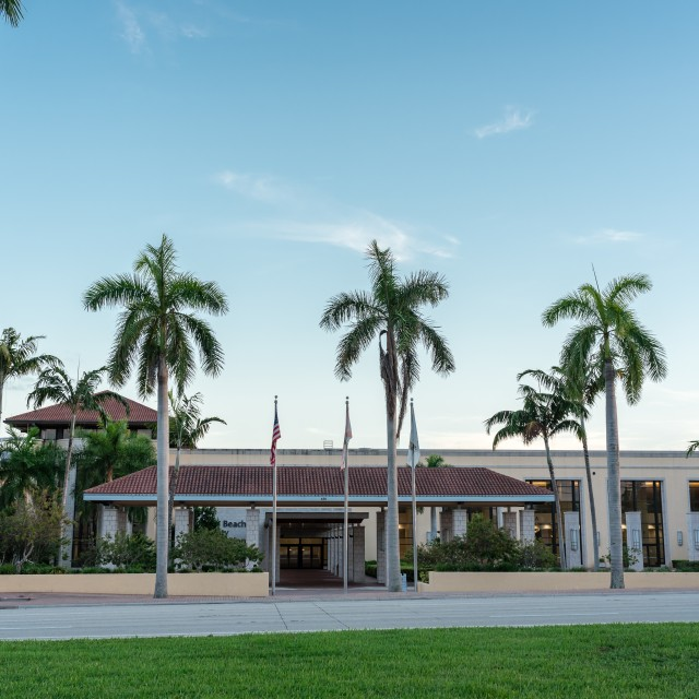 Photo of the front of the building at ground level with three palm trees
