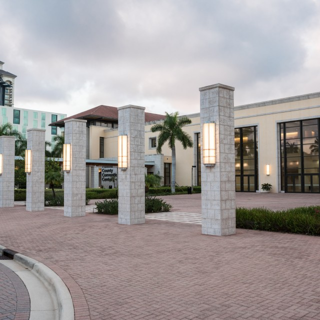 Photo of the front courtyard view in front of the five pillars surrounding the courtyard