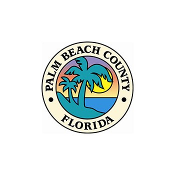 This link will take you to Palm Beach County's official website. Photo of the Palm Beach County Official logo with Palm Trees, ocean and sunset.